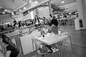 university, analog, Lisa, Lisa Tracy, Contax T3, analogphotografie, analogphotography, staybrokeshootfilm, Kodak Tmax400, point and shoot, canteen